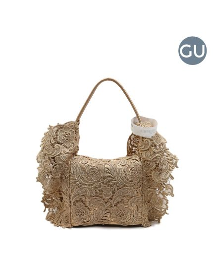 Gold Lace Pizzo Leather Shoulder Bag