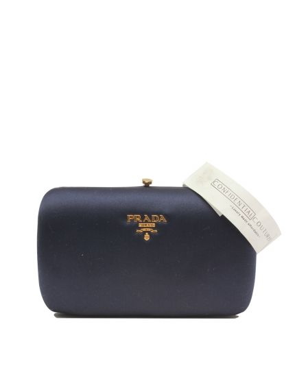 Blue Satin Box Clutch