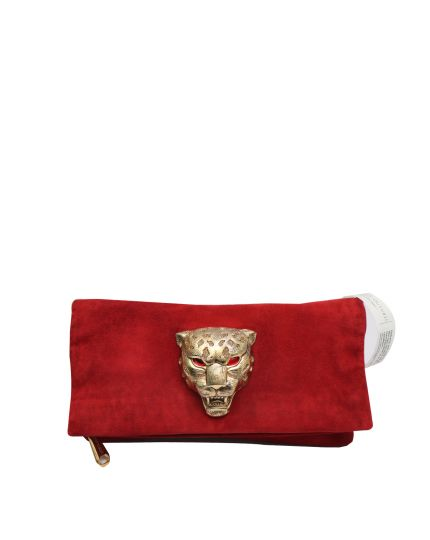 Embellished red suede fold-over clutch