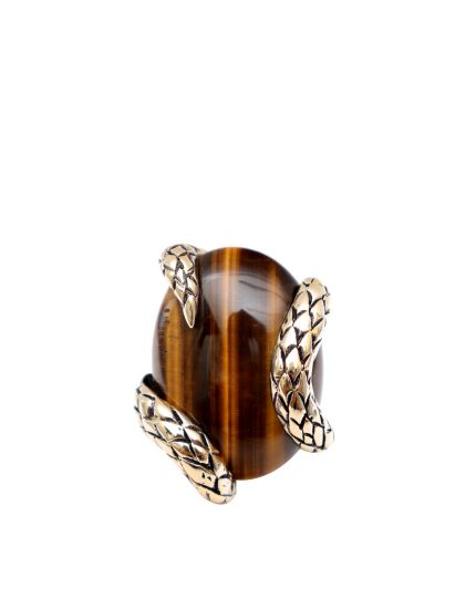 Tigers Eye Snake Ring