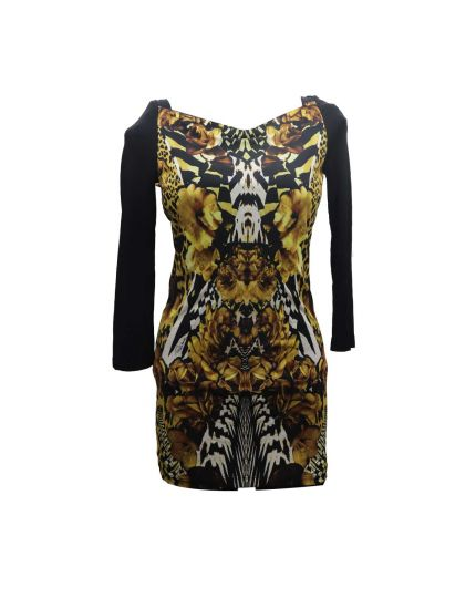Patterned Long Sleeve Dress Size S