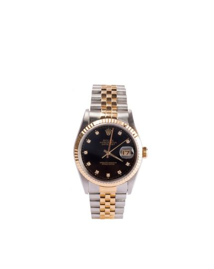 MENS ROLEX DATEJUST BLACK DIAMOND DIAL