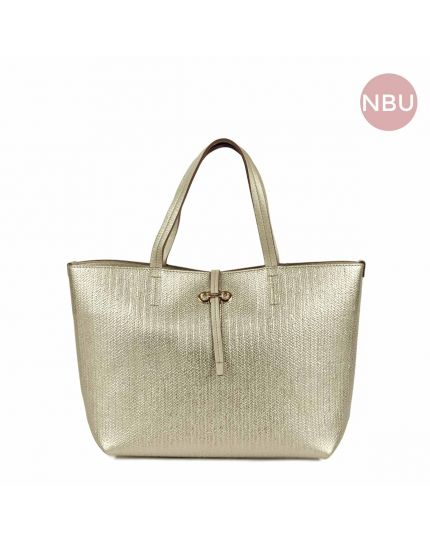 Gold Textured leather Top handle Tote bag
