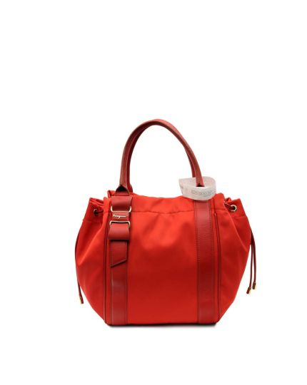 Red Nylon and Leather Hobo Bag