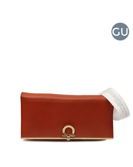 Punch Orange Gancini Icona Saffiano Flap Continental Wallet