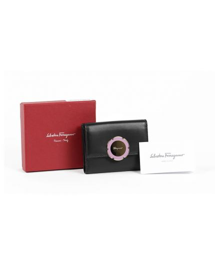 SF Flower Calf Leather Nero Mini Wallet