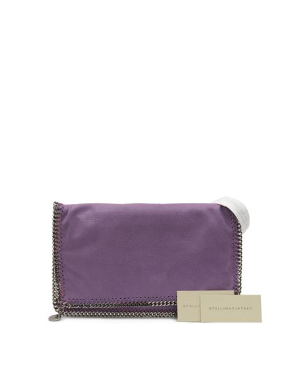 Falabella Fold Over Purple Faux Leather Clutch