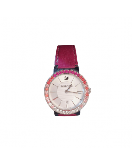 Pink Leather Strap Women's Watch