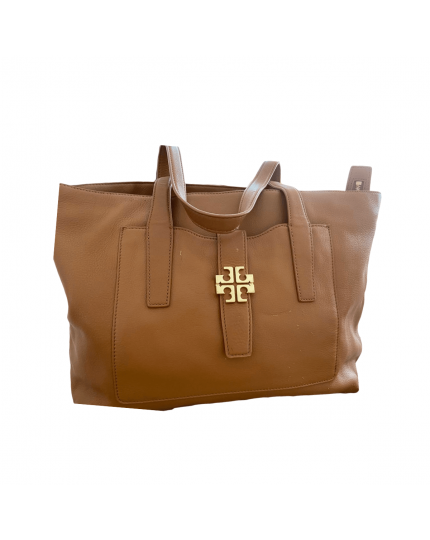 Tory Burch Meyer Plaque Brown Leather Tote