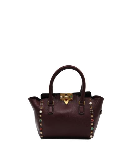 Maroon Multi-colored Cabochon Stones Rockstud Rolling Small Tote Bag