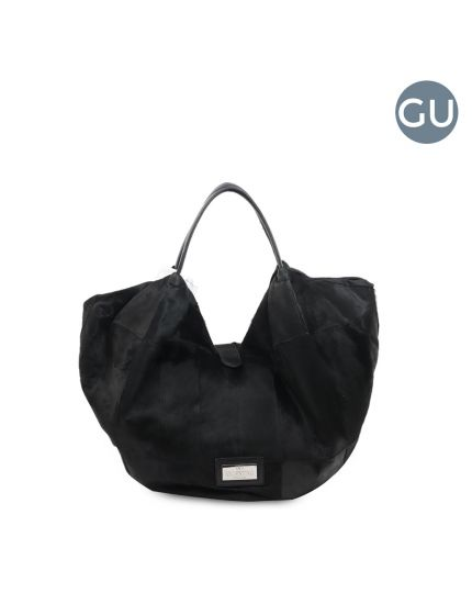 360 Bow Black Pony Hair Large Hobo Bag