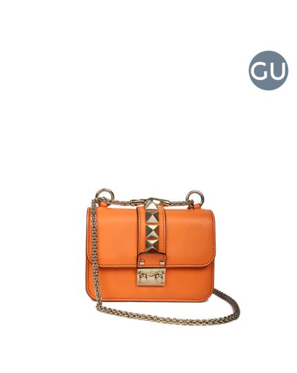 Orange Mini Rockstud shoulder bag