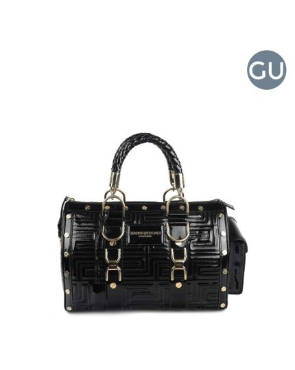 """BLACK LEATHER QUILTED """"SNAP OUT OF IT"""" SATCHEL"""
