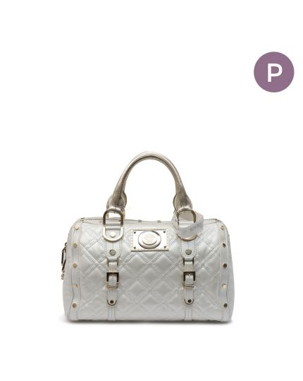 White Ivory Leather Madonna Snap Out Of Handbag