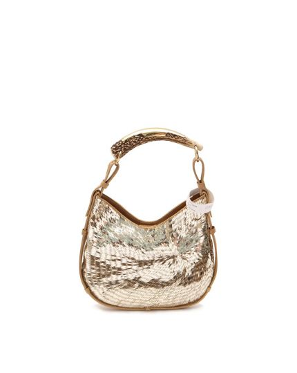 Gold Sequin and Satin Mombasa Horn Bag