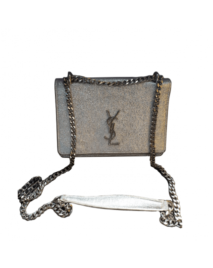 Sunset Chain Wallet In Silver Cracked Metallic Leather