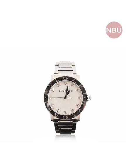 Bvlgari Automatic steel and mother of pearl watch