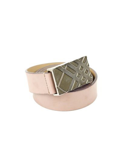 Burberry Nude Pink Leather Belt With Buckle Size - 80 cm