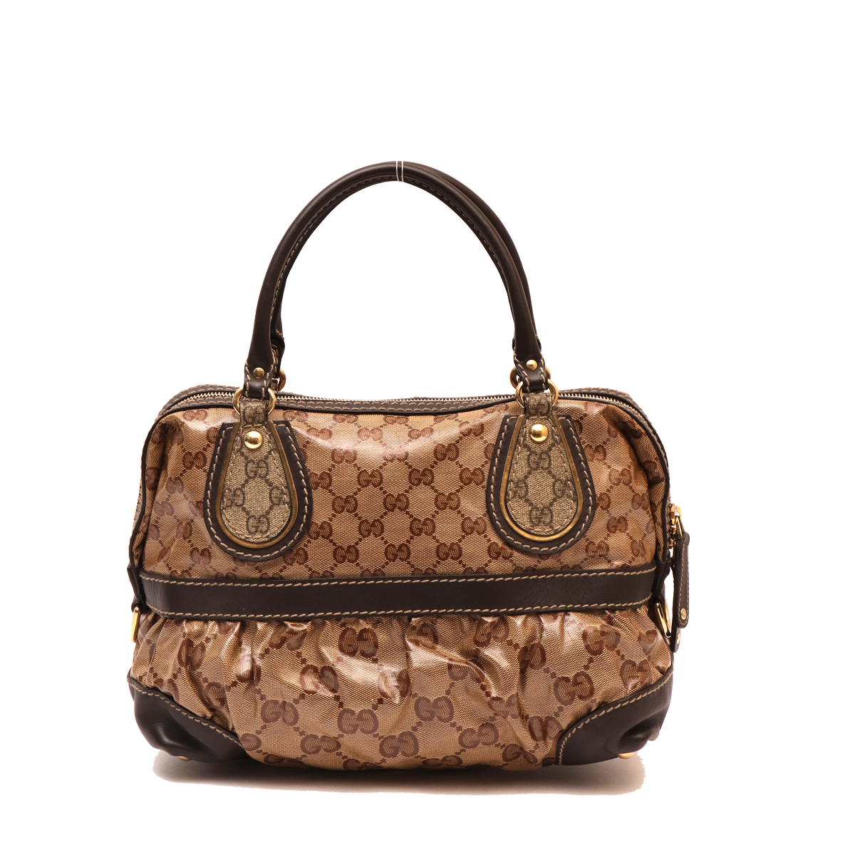 1f4b37f05 GUCCI BROWN COATED CANVAS MONOGRAM CRYSTAL MIX TOTE