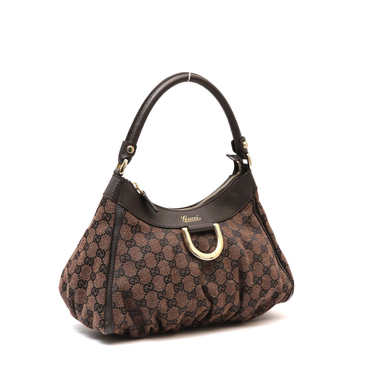 fc9ab413a Authentic GUCCI MONOGRAM BROWN D RING HOBO BAG