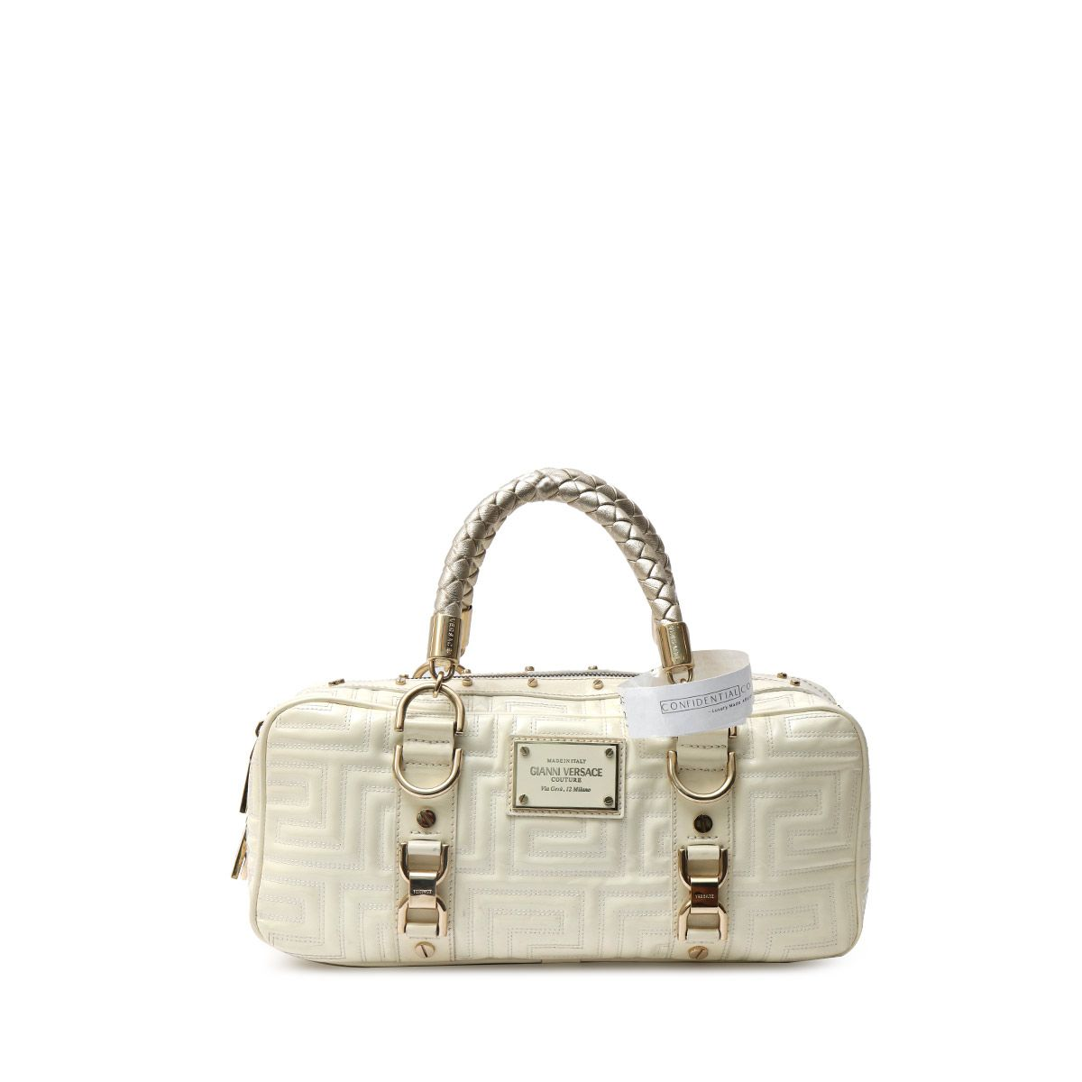 000449ba WHITE LEATHER QUILTED SNAP OUT OF IT TOTE BAG