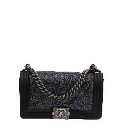 Chanel Calfskin Embossed Medium Cordoba Boy Flap Black
