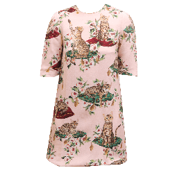 Dolce & Gabbana Pink Flower Cat Print Dress