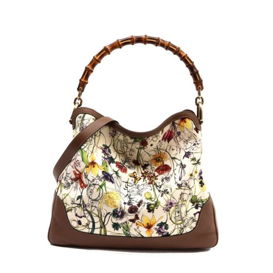 0b8965eef Authentic GUCCI WHITE PRINTED HOBO BAMBOO HANDLE