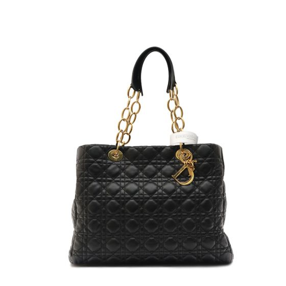 179fc8cfb Authentic Christian Dior LADY DIOR Black CANNAGE SHOPPER TOTE