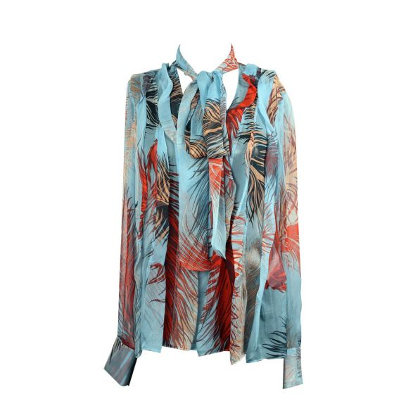 Silk Tie Neck Patterned See Through Blouse