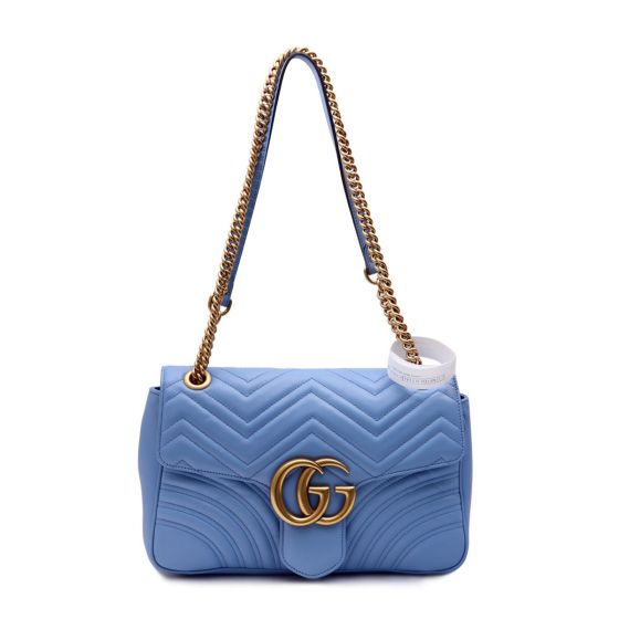 b2bcfe2f9 Authentic Gucci Light Blue Leather GG Marmont Matelasse Shoulder Bag