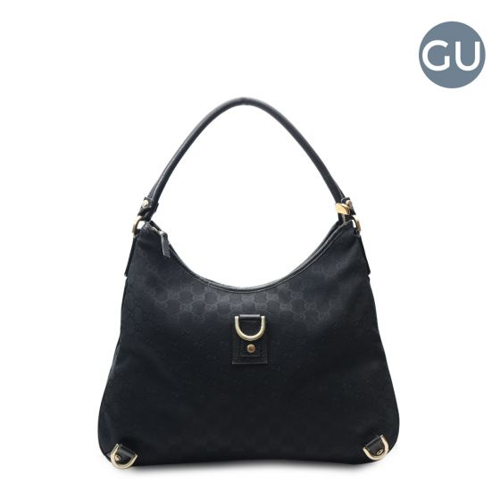 44568ae6a Authentic Gucci Black Canvas Monogram D-ring hobo bag.
