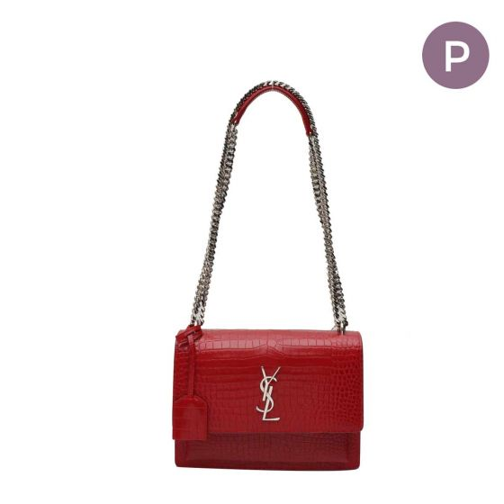 Red Croc leather Sunset shoulder bag