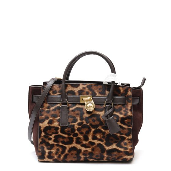 071b35965 Large Hamilton Traveler Satchel Bag in Leopard Calf Hair
